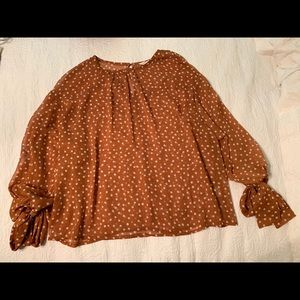 Orange  Polka dotted light weight blouse